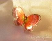 Rich orange sparkling iridescent resin butterfly