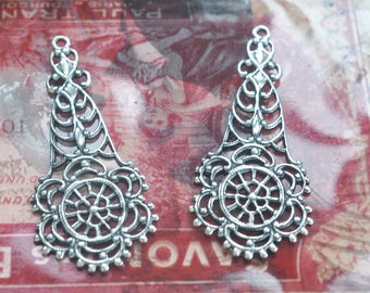 TWO Boho Style Filigree Drops, Earring Components, Boho Jewelry, Gypsy Style, Sterling Silver Ox