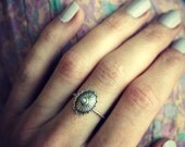 Sterling silver concho ring, opal ring, stacking ring, rope ring, midi ring, stackable ring