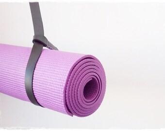 Yoga Mat Strap, Black Leather Mat Strap, Yoga Mat Carrier, Leather Blanket Strap, Yoga Mat Sling, Lotus Yoga Mat Strap, Yogi Gift Strap