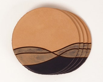 Leather drink coasters with ocean pattern detail | JIG