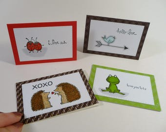 Mini Love Notes, set of 4 different Mini cards with envelopes, hello love, adult lunch box notes, masculine unisex cards, hand colored cards
