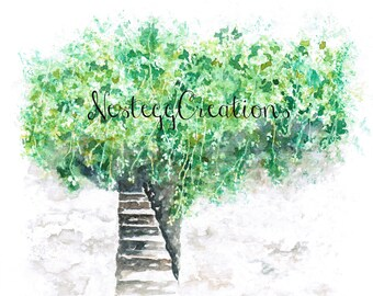 Orginal Watercolor Painting Stairway to Nowhere Green Vine Painting Wall Art Collectable Home Decor