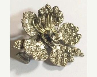 Antique 900 Coin Silver Flower Brooch