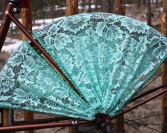 Bicycle Skirt Guard, 'Ariel'. Bike accessories, Turquoise/seafoam bike skirt guard, Cruiser accessories, Bicycle