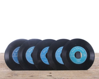 5 Vintage 45 Records / Blue Records / Antique Vinyl Records Decorations / Old Records / RCA Victor record / Retro Music Party Decor