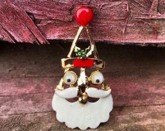 Vintage Googly Eye Santa Claus pin