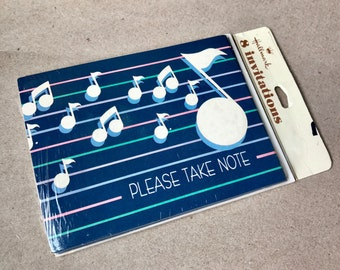 Vintage 80s Party Invitations - music notes