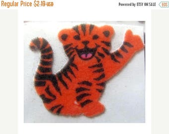 SALE Sweet Fuzzy Tiger Vintage Sticker - Orange Stripe Cat