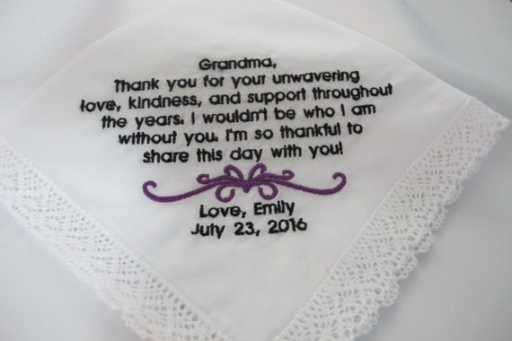 Embroidered Wedding Handkerchief for a beloved Grandmother