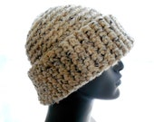 Super Bulky Beanie, Wool Blend Crochet Hat, Cuffed Beanie Hat in Oatmeal Tweed, Women's Hat, Men's Hat, Large to Extra Large Size