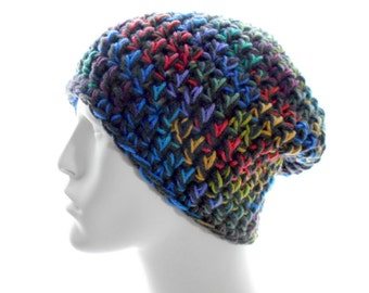 Colorful Beanie Hat, Crochet Hat, Tweedy Vegan Beanie, Women's Hat, Men's Hat, Large Size