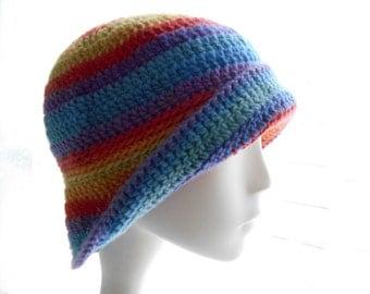 Women's Cloche Hat, Crochet Wool Hat, Cloche Hat in Rainbow Stripes, Medium Size