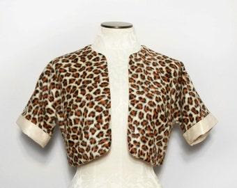 Vintage Faux Fur Jacket. Leopard Print Pin-Up. 1960s Animal Print Jacket. Cheetah Print Rockabilly Cropped Jacket. 1950s Bolero Medium Large