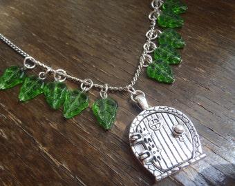 Hobbit door locket green glass leaf pendant necklace
