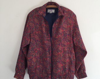 Vintage 90's Oleg Cassini Silk Track Jacket / Paisley Bomber Jacket L