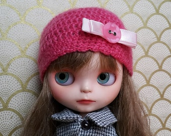 Pink Mohair Hat with White Flower for Blythe