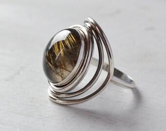 Atomic Rulitated Quartz Ring, Crystal Statement Ring, Sterling Silver Ring, Round Gemstone Ring, Metallic Stone Ring, Cocktail Ring