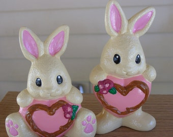 Hand Painted Heart Belly Bunnies