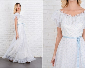 Vintage 70s Boho Dress Ivory White Wedding Blue Floral Print XXS 8537