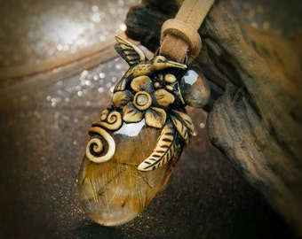 Golden rutile Quartz Humming bird clay pendant
