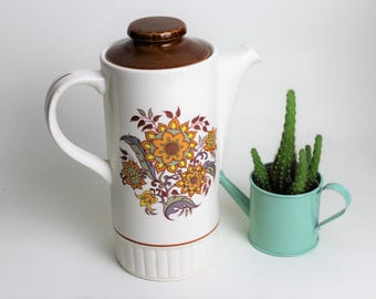 Palissy Ware England Brown Flower Design Coffee Pot