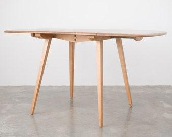 Mid Century Modern Drop Leaf Elm Dining Table