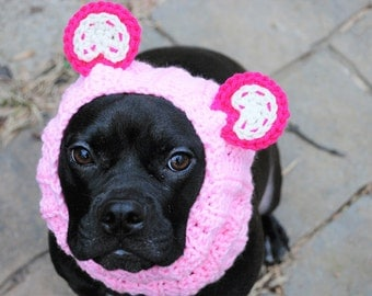 Dog Snood Pink Panda Bear Crochet MADE TO ORDER