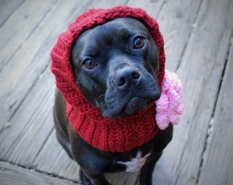 Crochet Hooded Dog Snood Cranberry with Pink Flower MADE TO ORDER