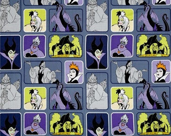 Disney Villain's Wicked Women on Blue from Camelot Fabrics