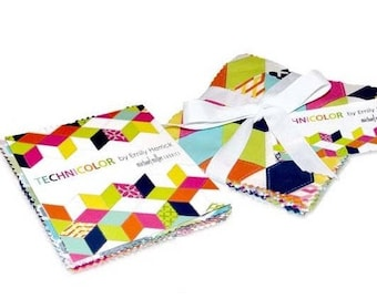 HOT DEAL - Charm Pack - Technicolor 5 inch squares from Michael Miller by Emily Herrick - 25 pieces