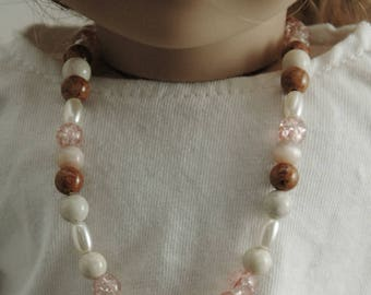 Doll, necklace, american, made, girl, doll accessories, 18 inch doll, pink, beads, jewelry, 3