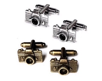 SALE Men's Camera Cufflinks, Bronze OR Silver- Handcrafted Photographer Cuff Links Guys Prom Groom Wedding Fine Art 35mm Photo Gift for Man