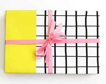 Black and White Grid Gift Wrap Yellow Color Block Wrapping Paper Birthday Gift Wholesale Wrapping Paper Rolls Gift Wrap Supplies Colorblock