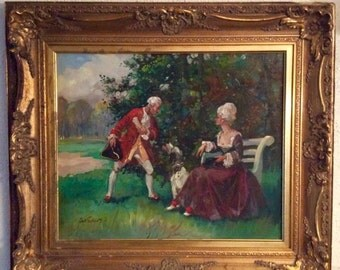 Sale Antique Vintage Oil Painting Portrait of 18th C. Couple Man & Woman with Dog O/C Art Framed Home Decor