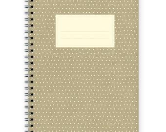 Notebook A5 - Little Beige Polka Dots Pattern