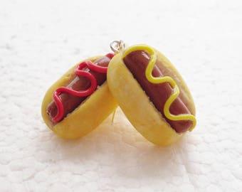 Hotdog Earrings. Polymer Clay.
