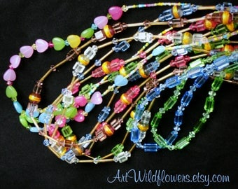 7 DeStash Glass Bead Necklaces - Beaded Jewelry De-Stash Necklace Lot for Crafts
