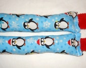 SALE Catnip Cat Toys - Set of 2 Kicksticks - Christmas Penguins Light Blue Fabric