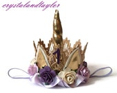 Lavender, Purple and Ivory Unicorn Crown, Unicorn Birthday Crown, Flower Crown, Birthday Hat, Newborn Crown, Toddler Crown, Unicorn Horn