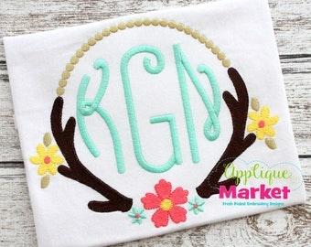 Large Applique Deer Antler Frame Monogram T shirt - Monogram Girl's shirt - Birthday themed - Custom colors available - Monogram T shirt