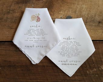 Set of 2 Printed Wedding Handkerchief for the  RING BEARER and Flower Girl . Wedding Handkerchief. Printed Handkerchief. Ring Bearer.