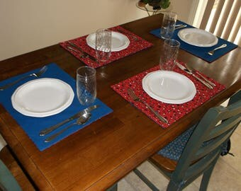 Summer Place Mats, Reversible Stars on Red, and a solid Blue, for Summer Holidays and Kids of all ages. Set of Six (6).