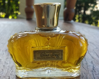Vintage Prince Matchabelli Windsong Perfume Bottle original paper label FULL 1 Fluid Oz Cologne Parfumee