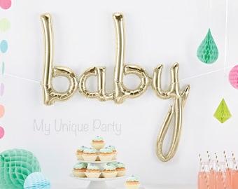 Baby Balloon Banner Baby Script Balloon / Air Fill only / Cursive Balloon White Gold Mylar