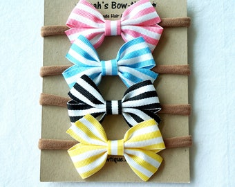 Stripe Hair Bow Set 4 Pack Nylon Headband