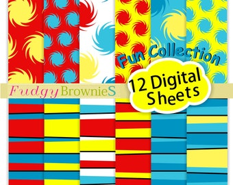 """ON SALE Dr Seuss digital paper12""""x12"""",  Dr Seuss kids birthday party backgrond, No.293/2 printable background, Instant download"""