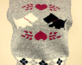 Sweater Vest Scottish Terrier Scottie Dog 100% Shetland Wool Robert Scott Ltd.