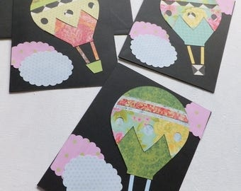 Hot Air Balloons on Black, Hand Made, Blank Inside