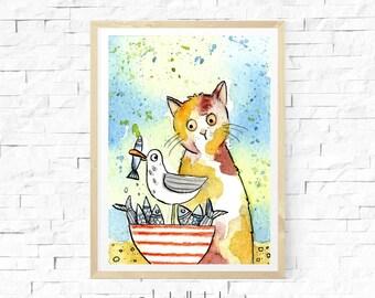 Cat Aceo, Original Watercolour, Coastal Cat